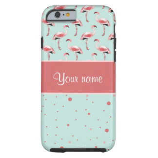 Personalized Pink Flamingos Polka Dots Tough iPhone 6 Case