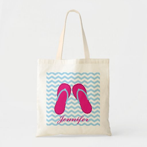 Personalized Pink Flip Flop Sandals Tote Bag