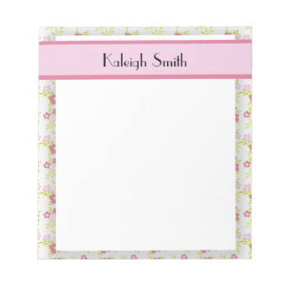 Personalized Pink Floral and White Notepad