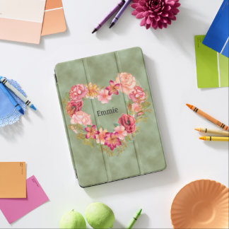 Personalized Pink Floral on Green iPad Pro Cover