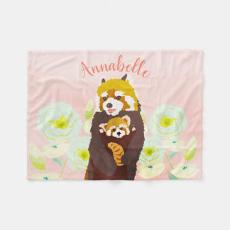 Personalized Pink Floral Red Panda Fleece Blanket