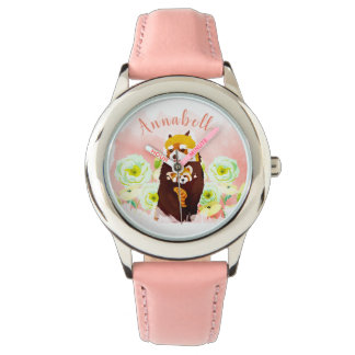 Personalized Pink Floral Red Panda Kid's Watch