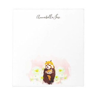 Personalized Pink Floral Red Panda Notepad