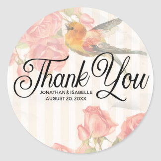 Personalized Pink Floral Thank You Sticker