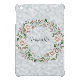 Personalized Pink Floral Wreath on Light Blue iPad Mini Covers
