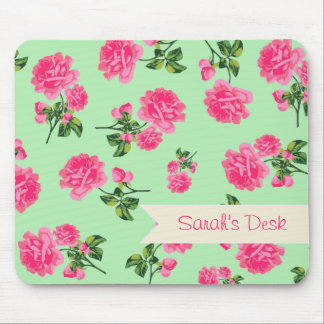 Personalized pink flowers on shabby chic green mouse pad
