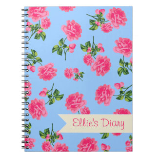 Personalized Pink flowers & sky blue notebook