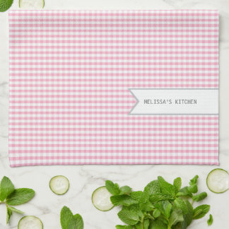 Personalized Pink Gingham Tea Towel