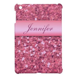 PERSONALIZED PINK GLITTER PRINTED iPad MINI COVER