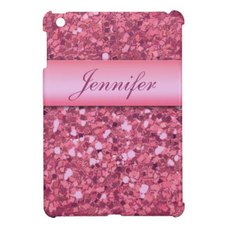 PERSONALIZED PINK GLITTER PRINTED iPad MINI COVERS