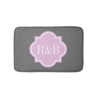 Personalized pink gray monogram non slip bath mat