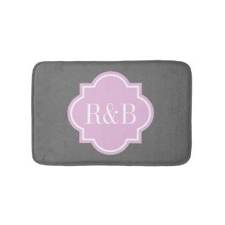 Personalized pink gray monogram non slip bath mat bath mats