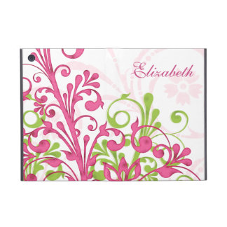 Personalized Pink Green Floral iPad Mini Folio Cover For iPad Mini