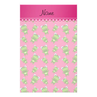 Personalized pink green frogs pink heart stripe stationery