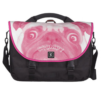 Personalized PINK Grumpy Puggy Bag For Laptop
