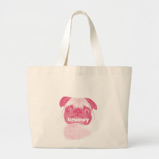 Personalized PINK Grumpy Puggy Large Tote Bag