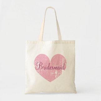 Personalized pink heart bridesmaid tote bags
