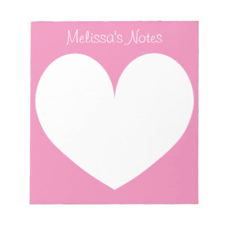 Personalized pink heart writing note pads