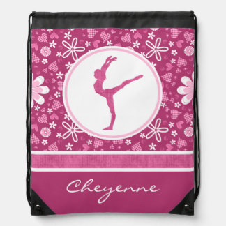 Personalized Pink Hearts and Floral Gymnastics Drawstring Bag
