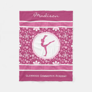 Personalized Pink Hearts and Floral Gymnastics Fleece Blanket