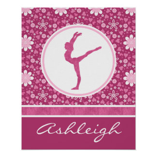 Personalized Pink Hearts and Floral Gymnastics Poster