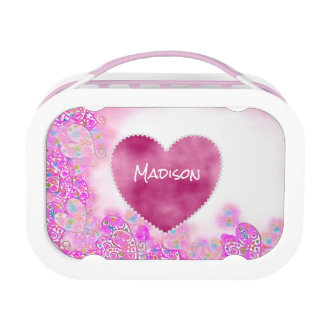Personalized Pink Hearts and Flower Lunch Box
