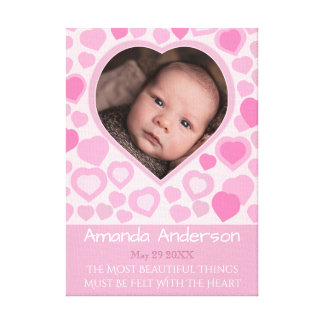 Personalized pink hearts canvas print