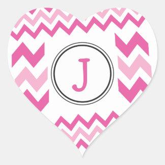 Personalized Pink J Monogram Heart Sticker