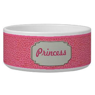 Personalized Pink Leopard Skin Pet Bowl