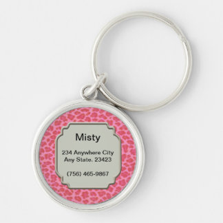 Personalized Pink Leopard Skin Pet ID Tag Key Ring