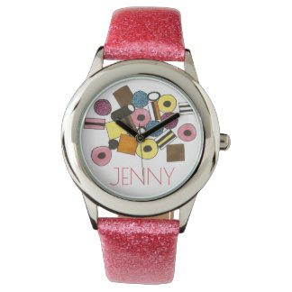 Personalized Pink Licorice Allsorts Candy Watch
