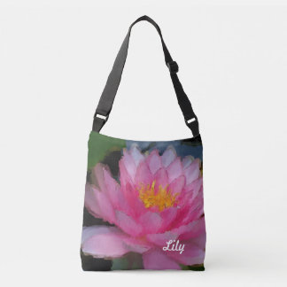 Personalized Pink Lotus Flower Water Lily Crossbody Bag