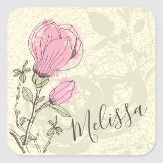 Personalized Pink Magnolia Bloom Sticker Seal