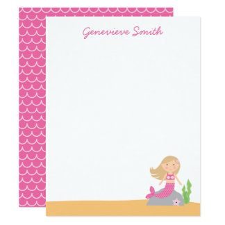 Personalized Pink Mermaid Card