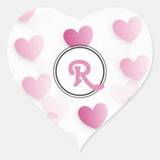 Personalized Pink Monogram Hearts Heart Sticker