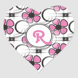 Personalized Pink Monogram R Abstract Flowers Heart Sticker
