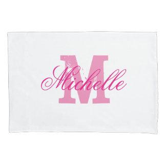 Personalized pink name monogram pillowcases