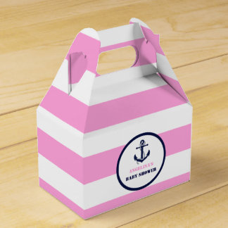 Personalized Pink/Navy Girl Nautical Baby Shower Favour Box