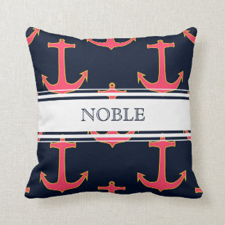 Personalized Pink Navy Gold Nautical Anchor Pillow