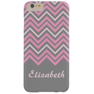 Personalized Pink on Grey Zigzag Chevrons Barely There iPhone 6 Plus Case