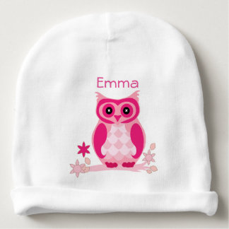 Personalized Pink Owl Baby Hat Baby Beanie
