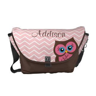 Personalized Pink Owl Diaper Bag Messenger Bag