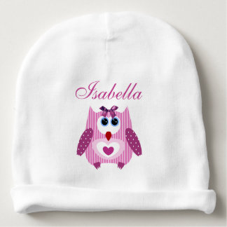 Personalized Pink Owl front & back Baby Girl Hat Baby Beanie