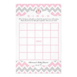 Personalized Pink owl girl baby shower games bingo 14 Cm X 21.5 Cm Flyer