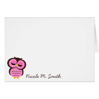Personalized Pink Owl Notecards Card