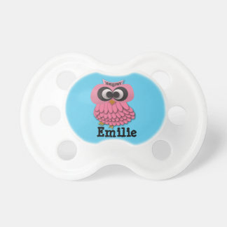 Personalized Pink Owl on Blue Pacifier
