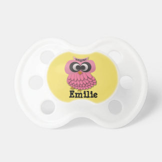 Personalized Pink Owl on Yellow Pacifier