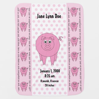 Personalized Pink Pig Blanket (two-sided)