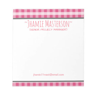 Personalized Pink Plaid Notepad