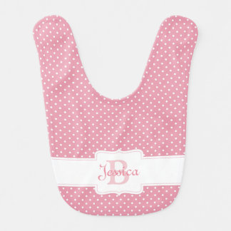 Personalized Pink Polka Dot Bib